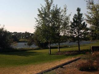 The back yard is just steps from the Madison River, a private view and walkway to the water.