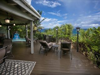 The poolside, beachfront deck (private) of Sundowner Villa, Virgin Gorda, BVIs.