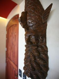 El Pescado in the entry foyer. Folkart.