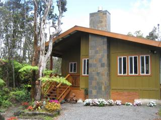 Volcano Singing Forest Cottage Hot tub & fireplace