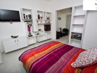 Bedroom with TV and Alebrijes Shelf