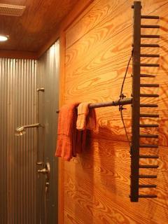 towel bar in bathroom