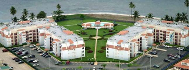 Aerial view Haciendas del Club beach front complex.