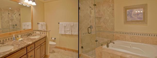 Master Bath - Marble Counters, Dual Sinks, Whirlpool Bathtub, Travertine Shower