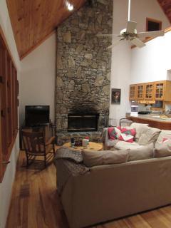 Native Dry-stack Stone wood burning fireplace