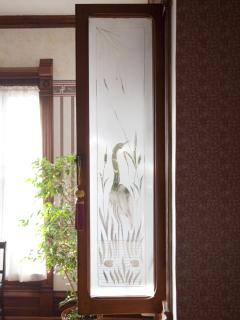 Hand Etched China Cabinet Door Glass Circa 1892
