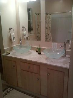 Bathroom - Double vessel sinks and waterfall faucets