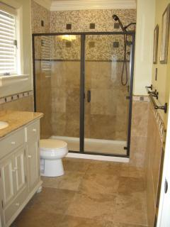 Master bathroom with Travertine