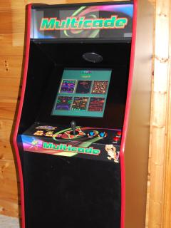 Wears Valley Cabin Game Room with Multicade Arcade Game with 60 Video Games to play