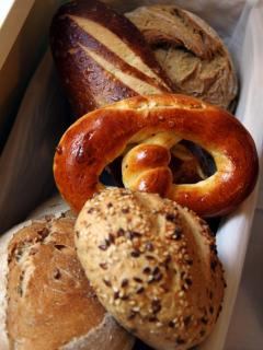 all sorts of wonderful bread and buns from the market