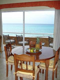 Dining room with Caribbean Sea views