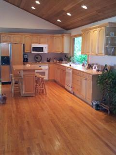 Oak Kitchen and floors....feels really nice over looking the woods and water