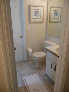 Master Bathroom with Door Entrance to Pool