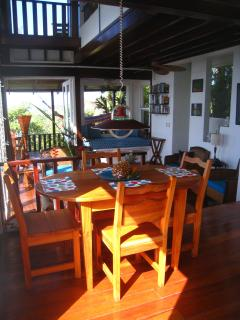view of dining area from kitchen terrace