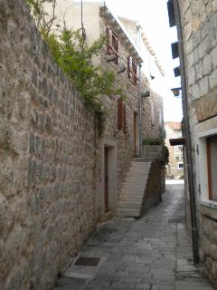 Old narrow street in the center of the town
