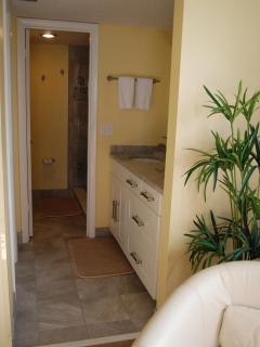 The master en suite has granite counters and great storage including a large walk in closet.