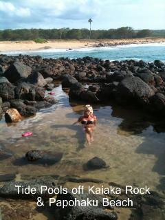 Cooling off in tide pool on Papohaku (3 mile) Beach