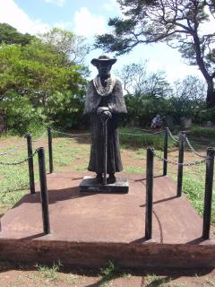 A Statue of Father Damien-Cannonized Saint that cared for the residents of Kaluapapa, Molokai