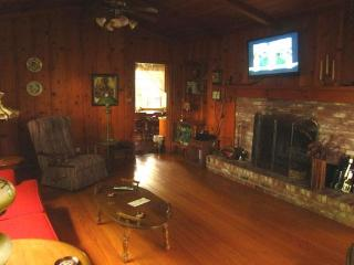 The family room has a fireplace, HDTV, Early American maple furniture, knotty pine paneling.