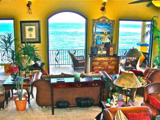 Living room has 5 sets of French doors opening out to the gallery and the Caribbean sea