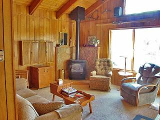 Living room with gas fireplace, HDTV and stereo