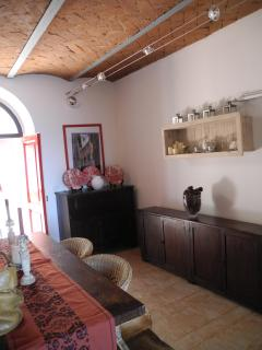 Dining/Kitchen Area w/Brick Barrel Valuted Ceiling