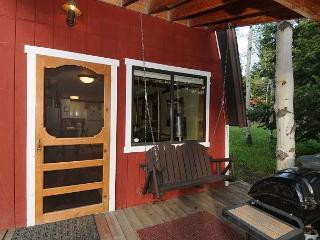 A cozy, private back porch