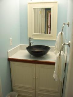 The master bath vessel sink