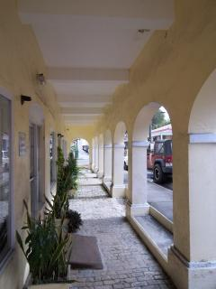 A covered shopping street in Christiansted.  We are only 7 or 8 minutes to Christiansted.