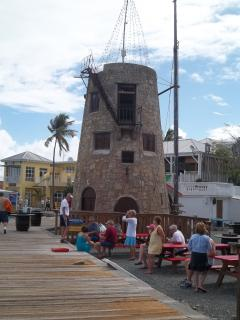 The surar mill bar on the boardwalk in Christiansted.  Many other restaurans on the wharf close by.