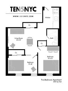 Floor plan map - TWO BEDROOM APARTMENT