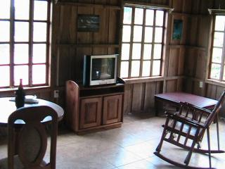 The living room area with TV, computer desk and books