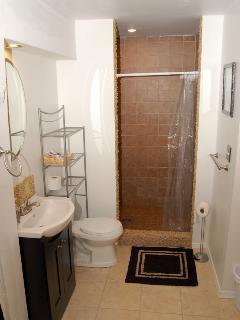 walk in tiled shower