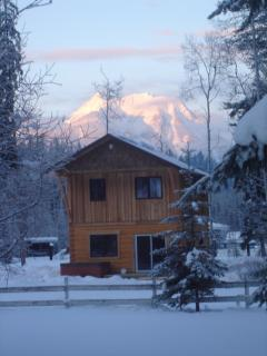 winter sunrise at Kicking Horse Kabins