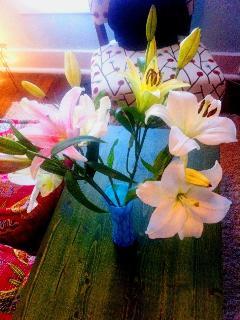 Fresh flowers arranged throughout! Casablanc lilies-our favorite!