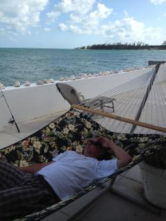 After a hard day of fishing, our guest is relaxing at last!