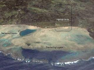 Google Aerial showing Swimming and world class snorkeling Lagoons with Villa (center) on sandy beach