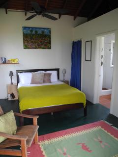 Sea view cottage has a queen sized bed