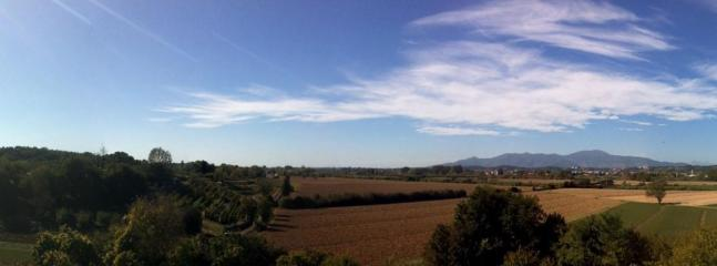 View of the valley from the balcony in the fall after the harvest
