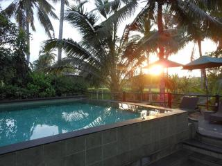 Swimming pool view during sunset time