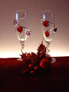 handmade stained glass champagne glasses