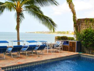 Viiew of pool deck and Bay of Banderas