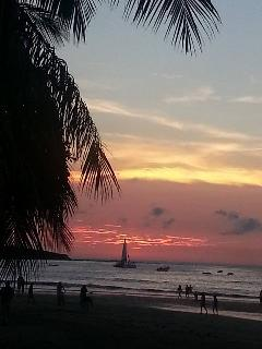 Tamarindo Bay at sunset, 5 minutes walk away