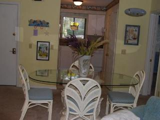 Dining area accommodates six.