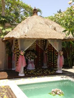The gazebo decorated for a Commitment Ceremony