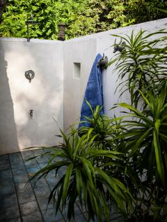 Outside shower in the Master bathroom