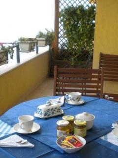 Breakfast in the wide balcony