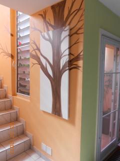 stairs beside kitchen courtyard