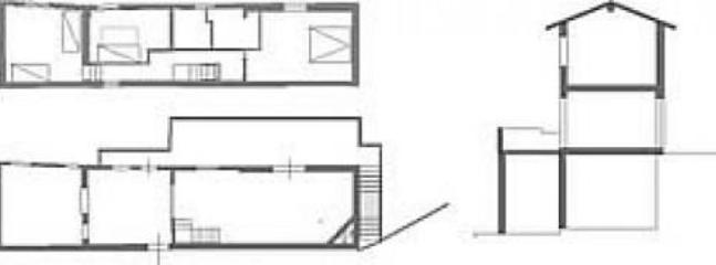 plans and cross section of the house