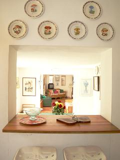 a quick snack in the kitchen, on designer stools